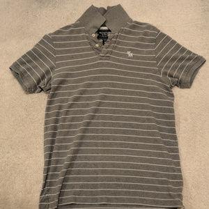 Men's Abercrombie & Fitch gray white stripe polo